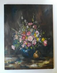 Vintage Antique Oil Painting Still Life Romantic Flowers Signed Culhane 19 X 25