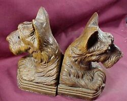Vintage Pair Scottish Terrier Scottie Dog Bookends Ornawood, Glass Eyes