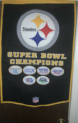 """Pittsburgh Steelers 6 Time Super Bowl Champions Wool Banner 50""""x30"""""""