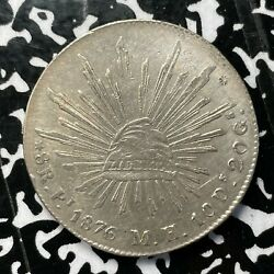 1876-p Mh Mexico 8 Reales Lotjm3337 Large Silver Coin Nice