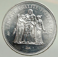 1975 France Large Hercules Motto Vintage Old Silver 50 Francs French Coin I94780