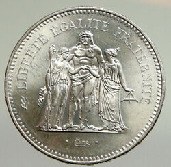 1975 France Large Hercules Motto Vintage Old Silver 50 Francs French Coin I94783