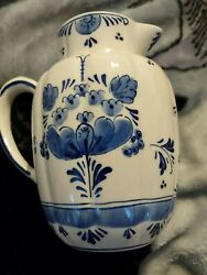 Vintage Blue And White Hand Painted Milk Jug Very Rare Ed 049205