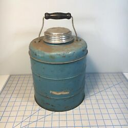 Vintage Blue Metal Glass Lined Thermos Cooler Jug Cup Jar With Lid
