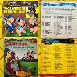 Walt Disney Records And Story Books + Childrenand039s Records Mixed Antique Bundle...