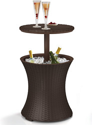 7.5 Gallon Patio Deck Rattan Style Cool Bar Cooler Outdoor Furniture Side Table