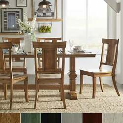 Eleanor Oak Farmhouse Trestle Base 5-piece Dining Set - Berry Red Chairs N/a