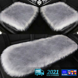 Long Wool Fur Car Seat Covers Full Set Protector Front Rear Seat Bottom Cushion