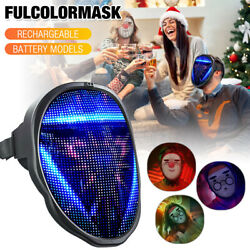 Led Halloween Full Face Mask Glowing Programmable App Control Horror Scary Mask