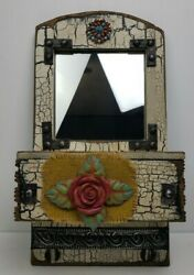Decorative Mirror Wood Floral Wall Hanging Drawer Vintage Hand Made 19quot; Tall
