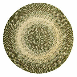 Super Area Rugs Ridgewood 4#x27; Round Braided Soft Synthetic Home Rug Green Beige