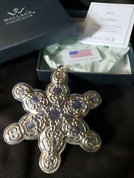 2013 Wallace Sterling Silver Snowflake Christmas Ornament Rare