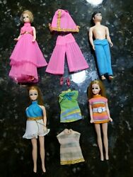 Dawn Doll Topper Toys 1970s Vintage Outfits Pink Dress Gary Lot Of 4 Dolls