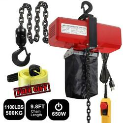 Electric Chain Hoist 1100lbs 2 Hooks Chain Pendant Control And Towing Strap