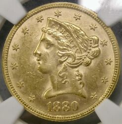 1880 Liberty Head 5 Gold Half Eagle Gorgeous Coronet Feathers And Hair Ngc Ms 61