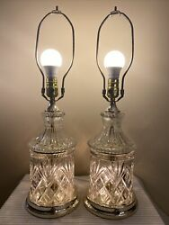 Pair Vtg Leviton Diamond Pattern Cut Crystal Glass And Brass Tone Table Lamps