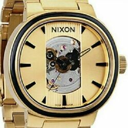 Nixon Watch Capital Automatic Winding 100m Stainless Steel Gold Skeleton Swiss