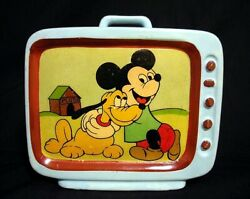 1950 Mickey Mouse Pluto Tv-shaped Pottery Piggy Bank