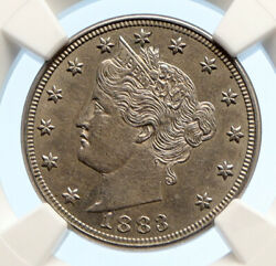 1883 United States Us Liberty Antique No Cent Vintage Nickel 5c Coin Ngc I95605