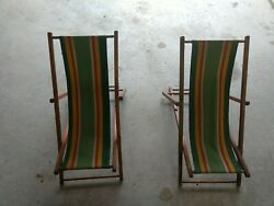 2 Vintage Childrens Adjustable Folding Wood And Canvas Deck, Lawn, Beach Chairs