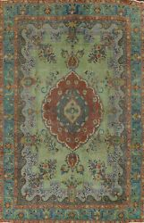Antique Overdyed Green Floral Tebriz Oriental Area Rug Hand-knotted Carpet 10x13