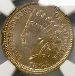1864 Indian Head Cent/penny Copper Nickel Rare Collar Strike Gorgeous Ngc Ms 63