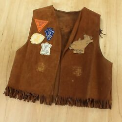 Vtg 60s 70s Ymca Indian Guides Leather Suede Vest W/ Patches