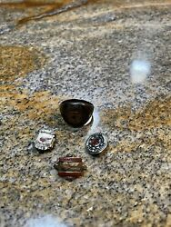 Pontiac Service Craftsman 10k Sterling Ring And Three Pins, One With A Diamond.