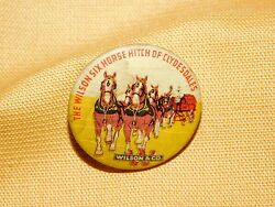 Vintage Horse Button Pinback The Wilson Six Horse Hitch Of Clydesdales