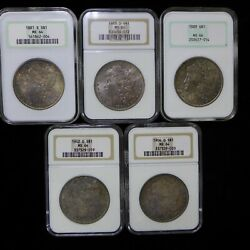 5 Different Dates Ngc Ms64 Morgan Silver Dollars - Toned - See Description