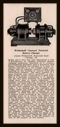 1926 Ad Weidenhoff Constant Potential Battery Charger New Development