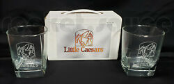 Rare Little Caesars Pizza Etched Glasses W/ Box Advertising Promo Whiskey Whisky