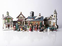 21 Pc Carole Towne Collection Village Town Pueblo Lighted Christmas 0271870