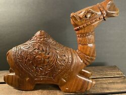 """Hand Carved Large Wood Sitting Camel Animal Decorative Figure 9.5"""" Tall Nativity"""