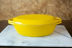 Vintage Copco Denmark Yellow Enamel Michael Lax Dutch Oven Pot Oval With Lid