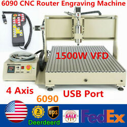 1500w Usb 4 Axis Cnc 6090t Router Engraver Metal Wood Milling Machine+controller