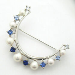 Mikimoto Pearl/colored Stone Brooch Accessory K18wg White Gold Pearl Up To 5.5