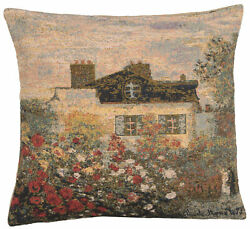 Claude Monet#x27;s Mansion Belgian Reproduction Tapestry Cushion Pillow Cover NEW