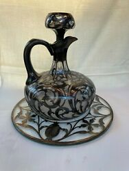 Antique American Art Nouveau Silver Overlay Jug Decanter With Drip Tray By Alvin