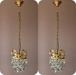 Two Matching Antique Crystal Chandeliers,vintage Pendant Hallway Lighting Lamps