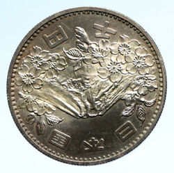1964 Japan Tokyo Summer Olympic Games Cherry Mt Fuji Silver 1000y Coin I95739