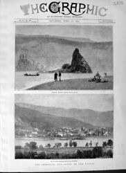 Old Antique Print 1877 Danube Babakay Baziach Orsova Servian Fortress War 19th