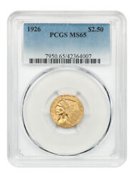 1926 2 1/2 Pcgs Ms65 - Gem Type Coin - 2.50 Indian Gold Coin - Gem Type Coin
