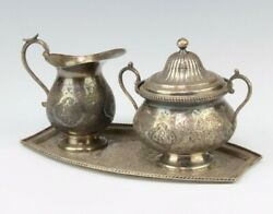 Antique Persian Silver Ewer Jug Creamer 2 Handled Sugar Bowl With Cover Tray Set