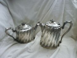 Pair Of Antique Silver Plated Teapots Tea Pots By Howard Sheffield Coffee Epns