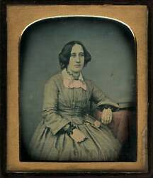 Hand Tinted Color Daguerreotype Of Woman Holding Flower Leather Case Sealed