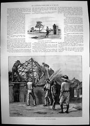 Antique Old Print Building Police Huts Fort Macloutsie Map South Africa 1893