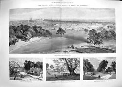 Old Antique Print 1889 Agricultural Show Windsor Bromley Hill Queen Anne 19th