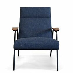 Melbourne Modern Mid Century Blue Lounge Chair With Walnut Wood Armrests And ...