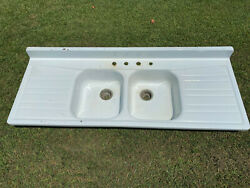 Vintage 65.5andrdquo Cast Iron Farmhouse Double Basin Sink With Dual Drainboards